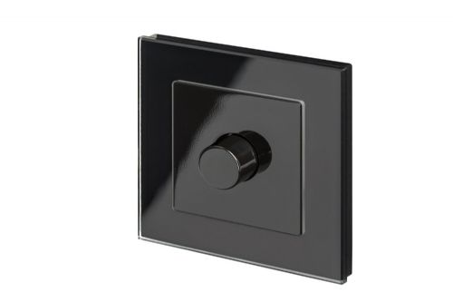 RetroTouch 1 Gang 2 Way Dimmer Switch 3-200W LED & Halogen Black Glass PG 02043